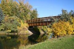 Puente del parque en otoño Fotografía de archivo