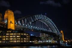 Puente del puerto por noche Fotografía de archivo libre de regalías