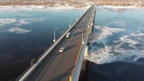 Puente del río de Kama almacen de video