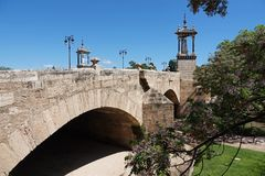 Puente del Real bridge in Turia park in Valencia, Spain royalty free stock photos