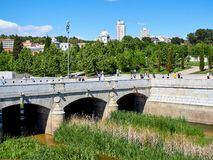 Puente del Rey bridge over the Manzanares river in Madrid. Stock Photo