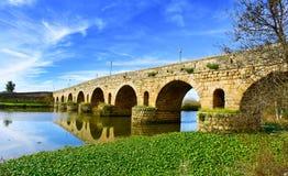 Puente del romano de Puente en Mérida, España Fotos de archivo libres de regalías