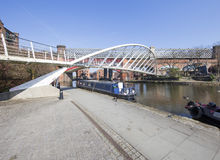 Puente del ` s del lavabo y del comerciante de Castlefield Imagen de archivo
