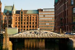 Puente del Speicherstadt foto de archivo