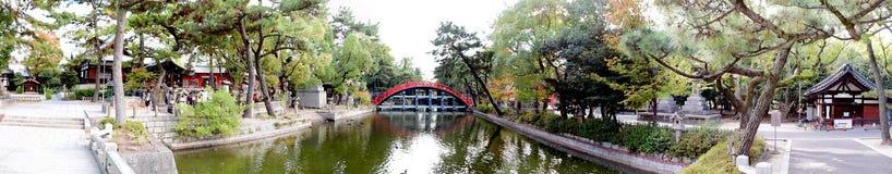 Puente del tambor de la capilla de Sumiyoshi Taisha, Osaka Imagen de archivo libre de regalías