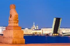 Puente dibujado dibujado de Troitsky en St Petersburg Foto de archivo