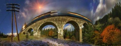 Puente diesel del tren en el austriaco Foto de archivo libre de regalías