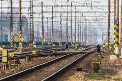 Puente eléctrico de la manera del tren Imagenes de archivo