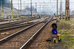 Puente eléctrico de la manera del tren Fotos de archivo
