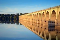 Puente el río Susquehanna Harrisburg Pennsylvania de la calle de mercado Fotografía de archivo libre de regalías