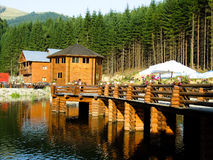 Puente en el lago Foto de archivo libre de regalías