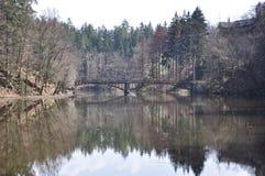 Puente en el lago Otoño, coníferas imagenes de archivo
