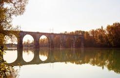 Puente en el río de Soca Foto de archivo libre de regalías