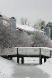 Puente en nieve e hielo del invierno Imágenes de archivo libres de regalías