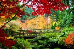 Puente en un jardín Fotografía de archivo libre de regalías