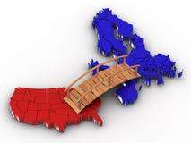 Puente entre Europa y los E.E.U.U. stock de ilustración