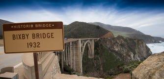 Puente famoso de Bixby en la carretera de la Costa del Pacífico Fotos de archivo