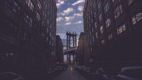 Puente famoso de Manhattan del dumbo de Nueva York Brooklyn Imagen de archivo libre de regalías