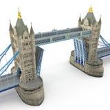 Puente famoso Londres, Reino Unido de la torre en blanco ilustración 3D stock de ilustración