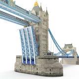 Puente famoso Londres, Reino Unido de la torre en blanco ilustración 3D ilustración del vector