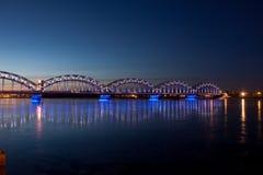Puente ferroviario azul Foto de archivo
