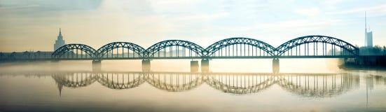 Puente ferroviario de Riga Fotografía de archivo libre de regalías
