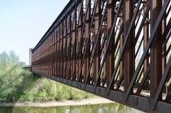Puente ferroviario del hierro en Griethausen Foto de archivo