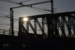 Puente ferroviario en la puesta del sol, Praga Fotografía de archivo libre de regalías