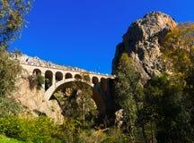 Puente ferroviario en montaña Foto de archivo