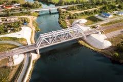 Puente ferroviario en Vladimir, Rusia fotografía de archivo