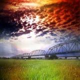 Puente ferroviario viejo Foto de archivo libre de regalías