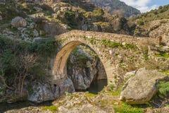 Puente Genoese en Asco en Córcega foto de archivo libre de regalías