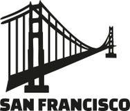 Puente Golden Gate con la palabra San Francisco ilustración del vector