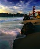 Puente Golden Gate durante puesta del sol Foto de archivo
