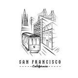 Puente Golden Gate, edificios y tranvía libre illustration