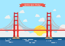 Puente Golden Gate plano del estilo libre illustration