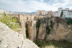 Puente granangular en Ronda Fotografía de archivo libre de regalías