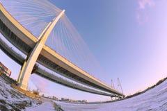 Puente grande de Obukhovsky (cable-permanecido) Imágenes de archivo libres de regalías