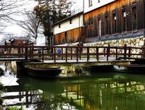 Puente, Hachiman-bori, OMI-Hachiman, Japón Imagenes de archivo