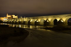 Puente iluminado en larga exposición. Night image of the Roman bridge in Cordoba, Spain, in the background Mosque and other monuments, when choosing a fairly Stock Image