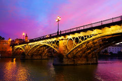 Puente Isabel II bridge Triana Seville Spain. Puente Isabel II bridge in Triana Seville sunset of Andalusia Spain Royalty Free Stock Photography