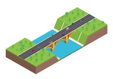 Puente isométrico sobre el río stock de ilustración