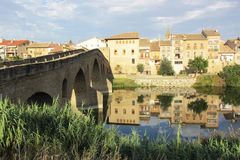 Puente la reina. The medieval town puente la reina in spain.this is along the old historic pilgrimage way to santiago de compostela royalty free stock photos