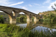 Puente la Reina bridge , Navarre. Romanesque bridge over river Arga, Puente La Reina, Road to Santiago de Compostela, Navarre, Spain stock image