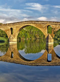 Puente la Reina bridge , Navarre. Romanesque bridge over river Arga, Puente La Reina, Road to Santiago de Compostela, Navarre, Spain stock photography