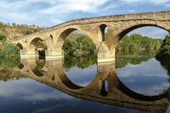 Puente la Reina bridge , Navarre Spain. Romanesque bridge over river Arga, Puente La Reina, Road to Santiago de Compostela, Navarre, Spain royalty free stock photography