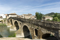Puente la Reina Bridge over the Arga River. Puente la Reina, Navarra, Spain. Stock Photos
