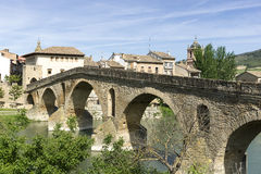 Puente la Reina Bridge over the Arga River. Puente la Reina, Navarra, Spain. Stock Photography