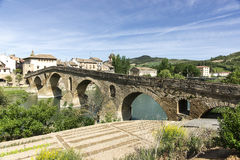 Puente la Reina Bridge over the Arga River. Puente la Reina, Navarra, Spain. XI Century. Romanesque. St. James Way royalty free stock image