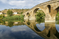 Puente La Reinabrücke, Navarre lizenzfreie stockfotos